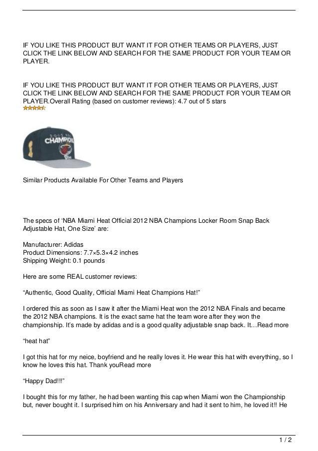 newest 8f01a b8db6 NBA Miami Heat Official 2012 NBA Champions Locker Room Snap Back Adjustable  Hat, One Size