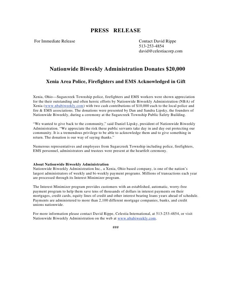Nationwide Biweekly Administration Donates To the Local