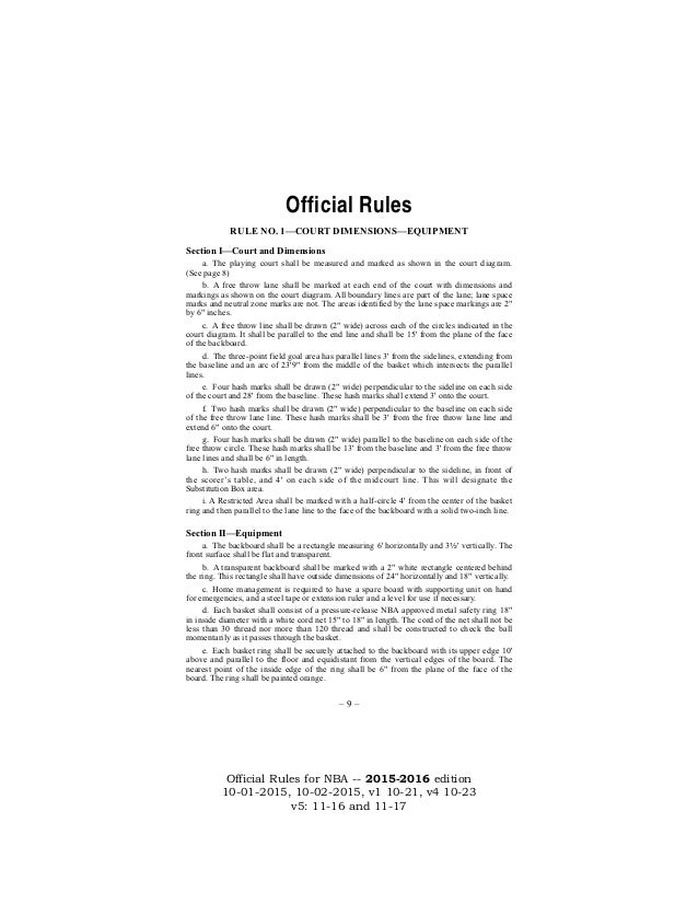 NBA Official Rules 2015-16