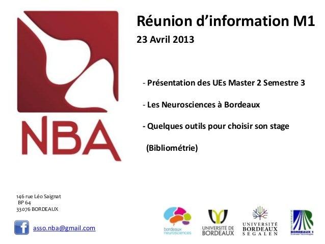 asso.nba@gmail.comRéunion d'information M123 Avril 2013- Présentation des UEs Master 2 Semestre 3- Les Neurosciences à Bor...