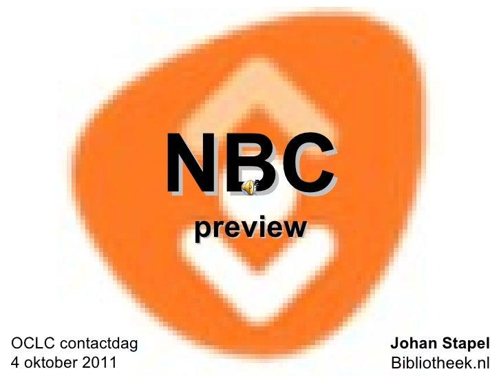 NBC preview Johan Stapel Bibliotheek.nl OCLC contactdag 4 oktober 2011