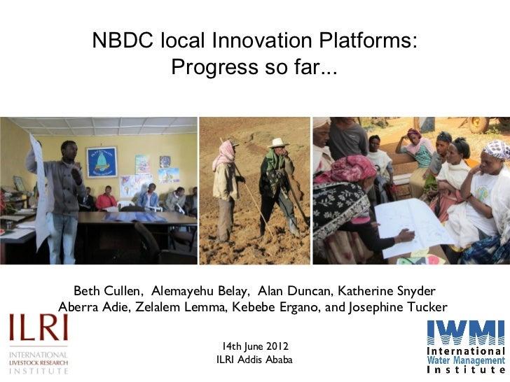 NBDC local Innovation Platforms:            Progress so far...  Beth Cullen, Alemayehu Belay, Alan Duncan, Katherine Snyde...