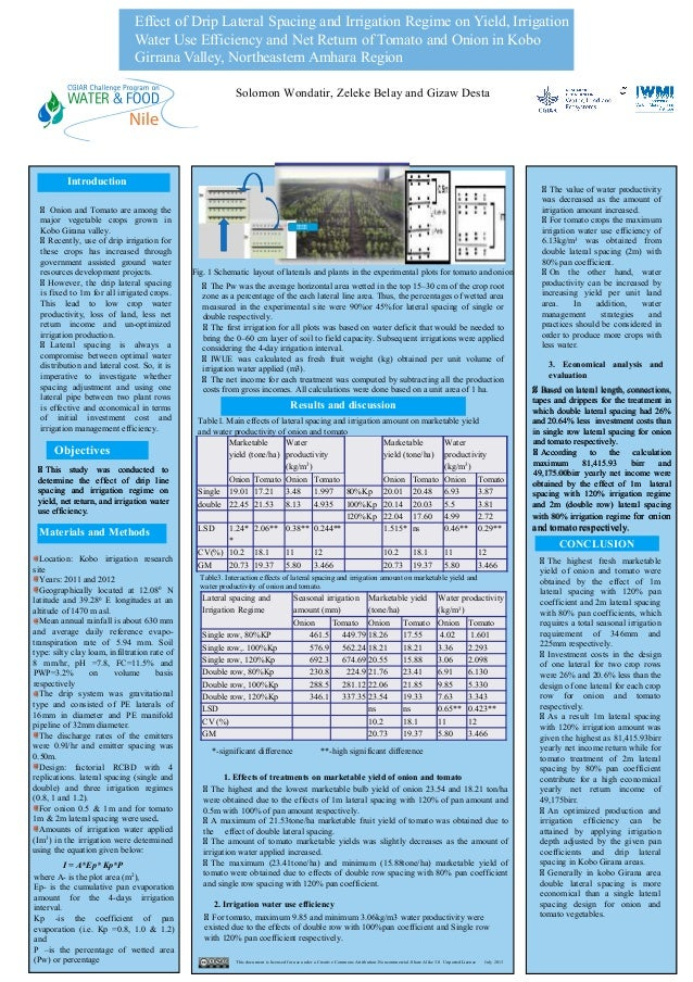 Effect of Drip Lateral Spacing and Irrigation Regime on Yield, Irrigation Water Use Efficiency and Net Return of Tomato an...
