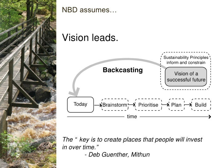 """Vision leads. NBD assumes… The """"key is to create places that people will invest in over time."""" - Deb Guenther, Mithun"""
