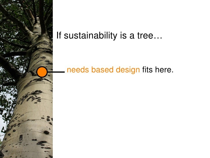 needs based design  fits here. If sustainability is a tree…