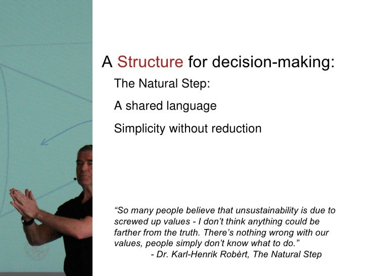 """A  Structure  for decision-making: The Natural Step:  A shared language Simplicity without reduction """" So many people beli..."""
