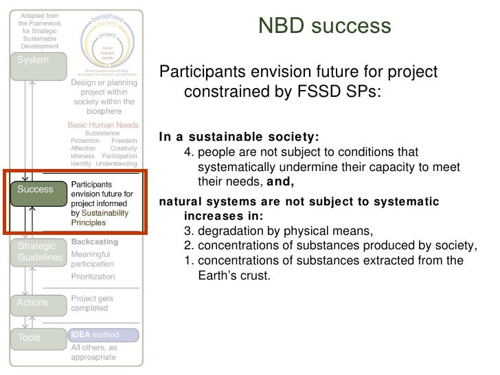 NBD success Participants envision future for project constrained by FSSD SPs: In a sustainable society: 4. people are not ...