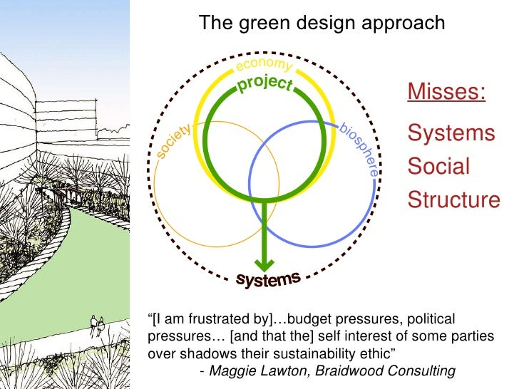 """The green design approach Misses: Systems Social Structure """" [I am frustrated by]…budget pressures, political pressures… [..."""