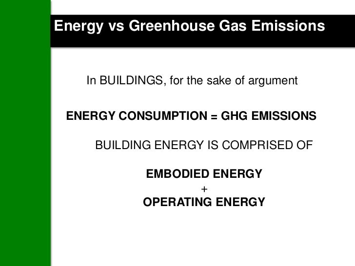 Energy vs Greenhouse Gas Emissions    In BUILDINGS, for the sake of argument ENERGY CONSUMPTION = GHG EMISSIONS     BUILDI...