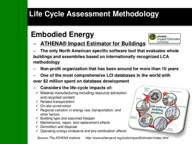 Life Cycle Assessment MethodologyEmbodied Energy – ATHENA® Impact Estimator for Buildings – The only North American specif...