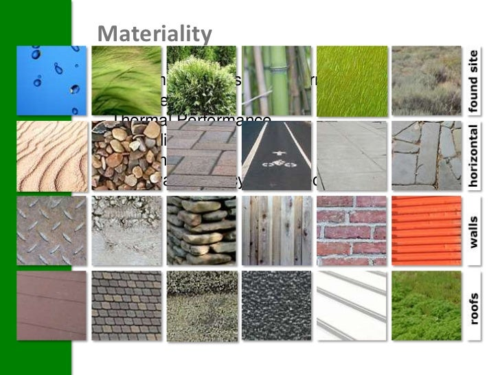 MaterialityThe primary issues of concern for theenvelope are:- Thermal Performance- Durability- Sourcing – travel distance...