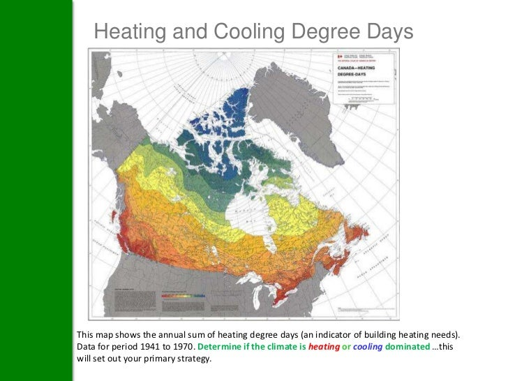 Heating and Cooling Degree DaysThis map shows the annual sum of heating degree days (an indicator of building heating need...