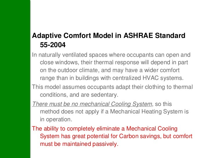 Adaptive Comfort Model in ASHRAE Standard  55-2004In naturally ventilated spaces where occupants can open and   close wind...