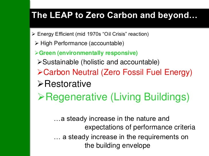 """The LEAP to Zero Carbon and beyond… Energy Efficient (mid 1970s """"Oil Crisis"""" reaction)  High Performance (accountable) ..."""