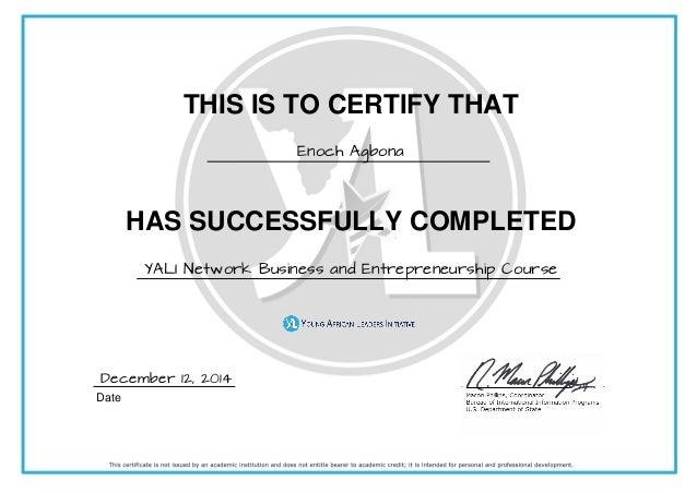 Business and Entrepreneurship YALI Certificate