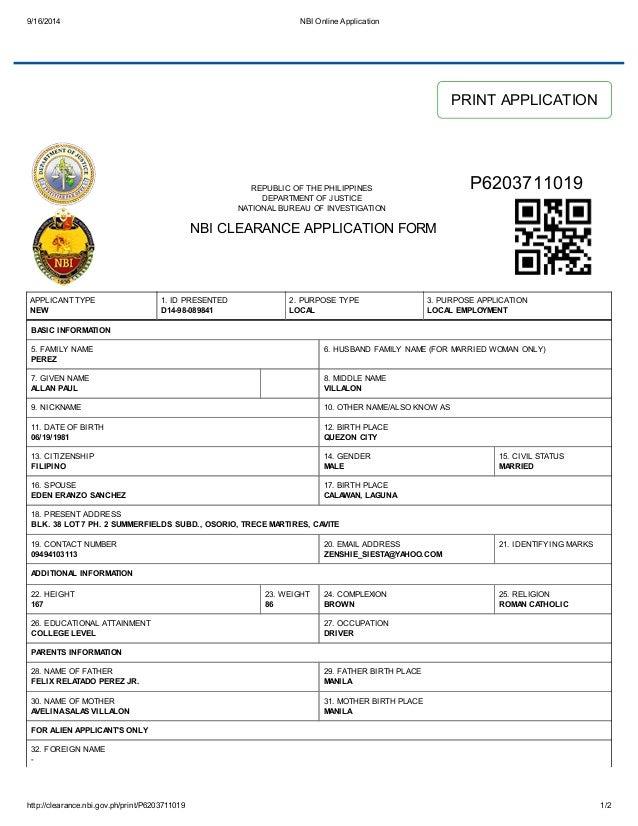 Nbi Clearance Form Pdf