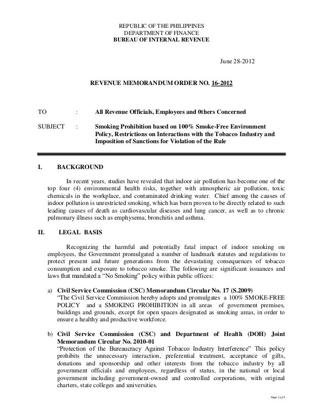 Bir Revenue Memo Order No 16 2012
