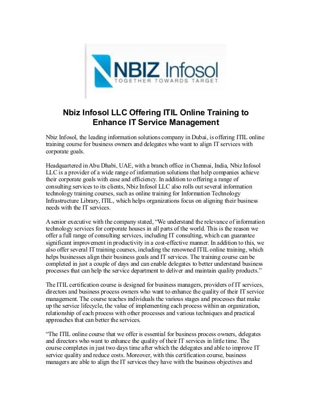 Nbiz Infosol Llc Offering Itil Online Training To Enhance It Service