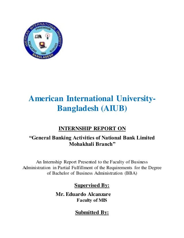 report on general banking activities of