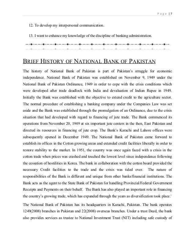 Internship report on nbp 2012