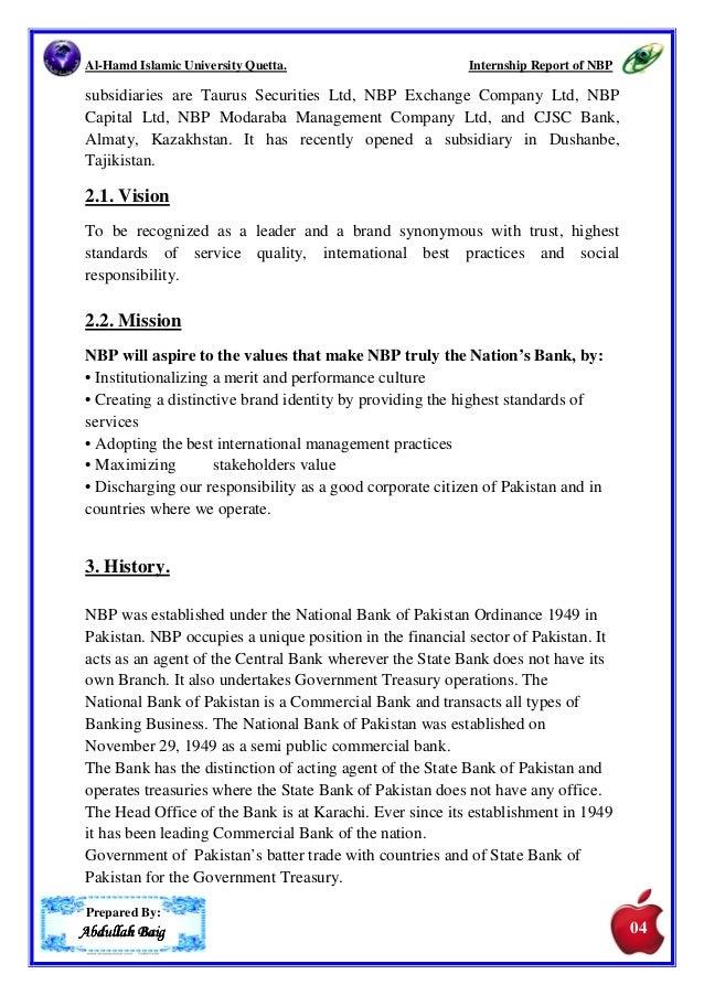 Nbp pdf 2012 on report internship