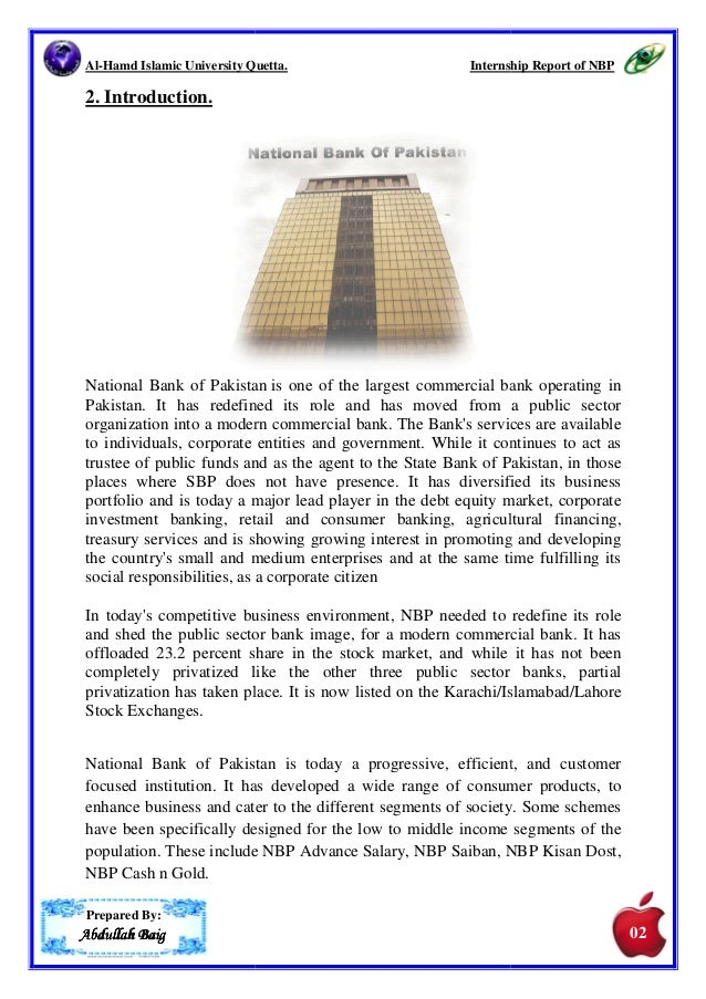 internship report on nbp Internship report national bank of pakistan  president hierarchy of nbp of  finance department svp finance gm finance structure of finance department.