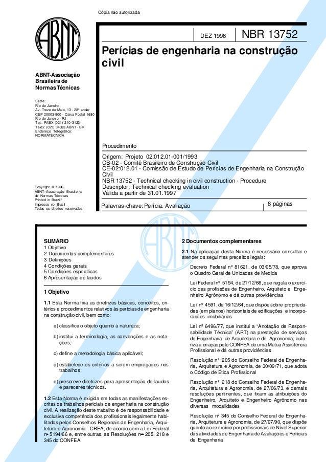 a Copyright © 1996, ABNT–Associação Brasileira de Normas Técnicas Printed in Brazil/ Impresso no Brasil Todos os direitos ...
