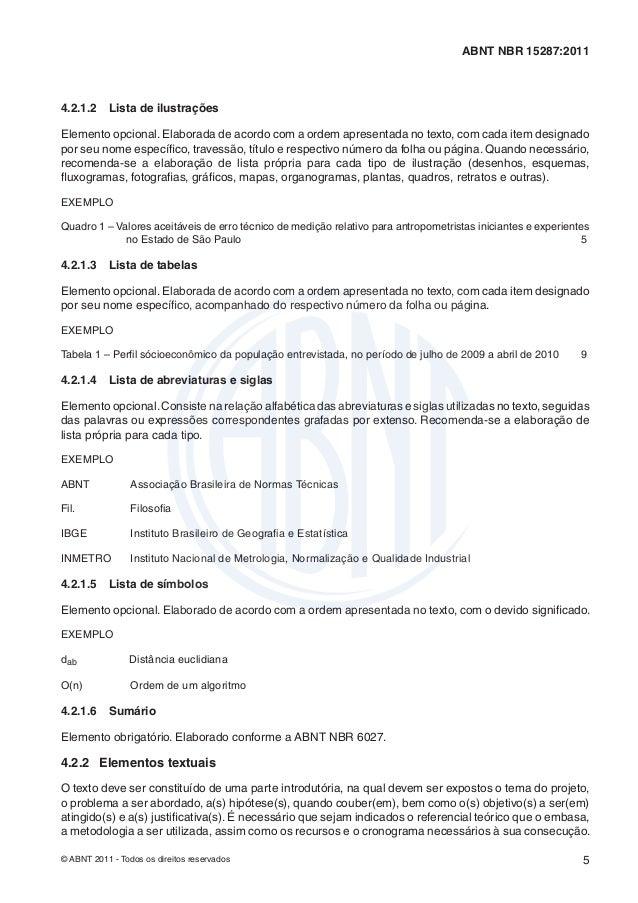 ABNT NBR 15287:20114.2.1.2    Lista de ilustraçõesElemento opcional. Elaborada de acordo com a ordem apresentada no texto,...