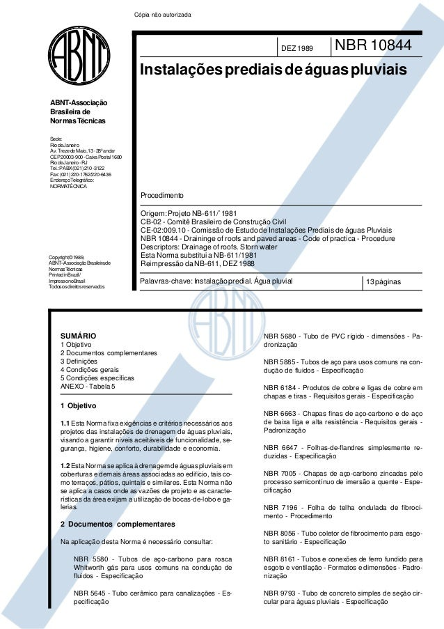 Cópia não autorizada  DEZ 1989  NBR 10844  Instalações prediais de águas pluviais ABNT-Associação Brasileira de Normas Téc...