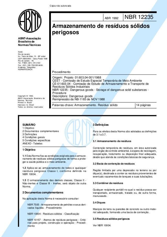 Cópia não autorizada  ABR 1992  NBR 12235  Armazenamento de resíduos sólidos perigosos ABNT-Associação Brasileira de Norma...
