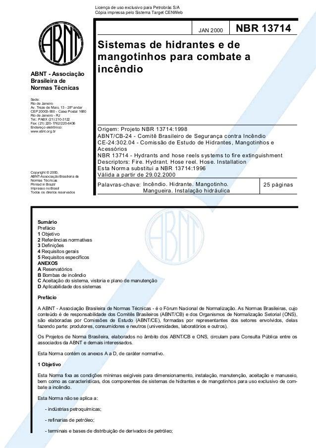 Licença de uso exclusivo para Petrobrás S/A Cópia impressa pelo Sistema Target CENWeb  JAN 2000  ABNT - Associação Brasile...