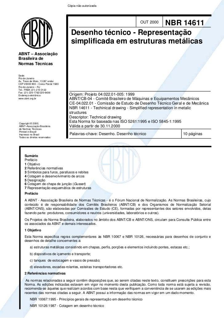 Cópia não autorizada                                                                NBR 14611         OUT 2000            ...
