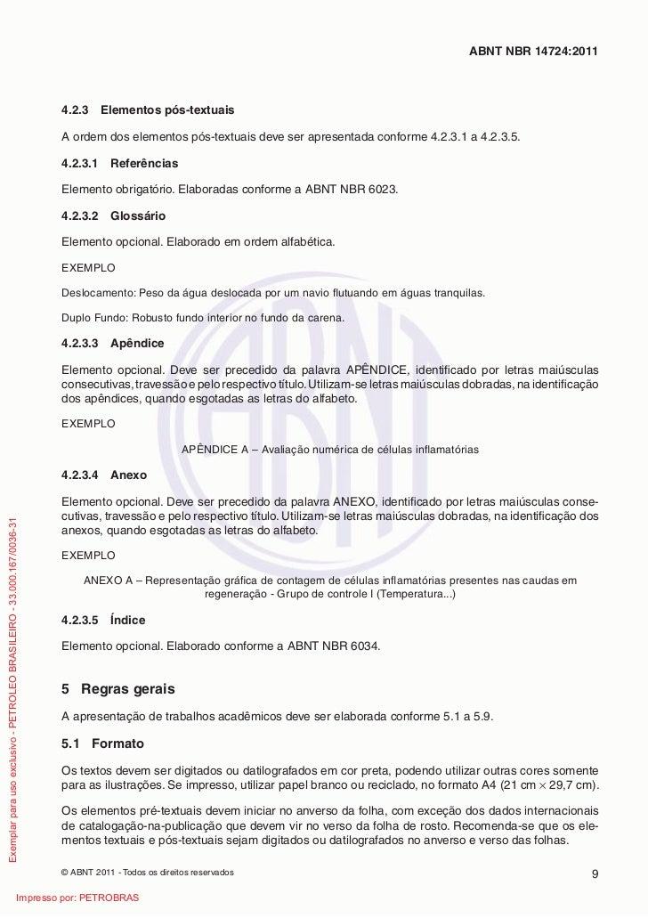 ABNT NBR 14724:2011                                                                         4.2.3     Elementos pós-textua...