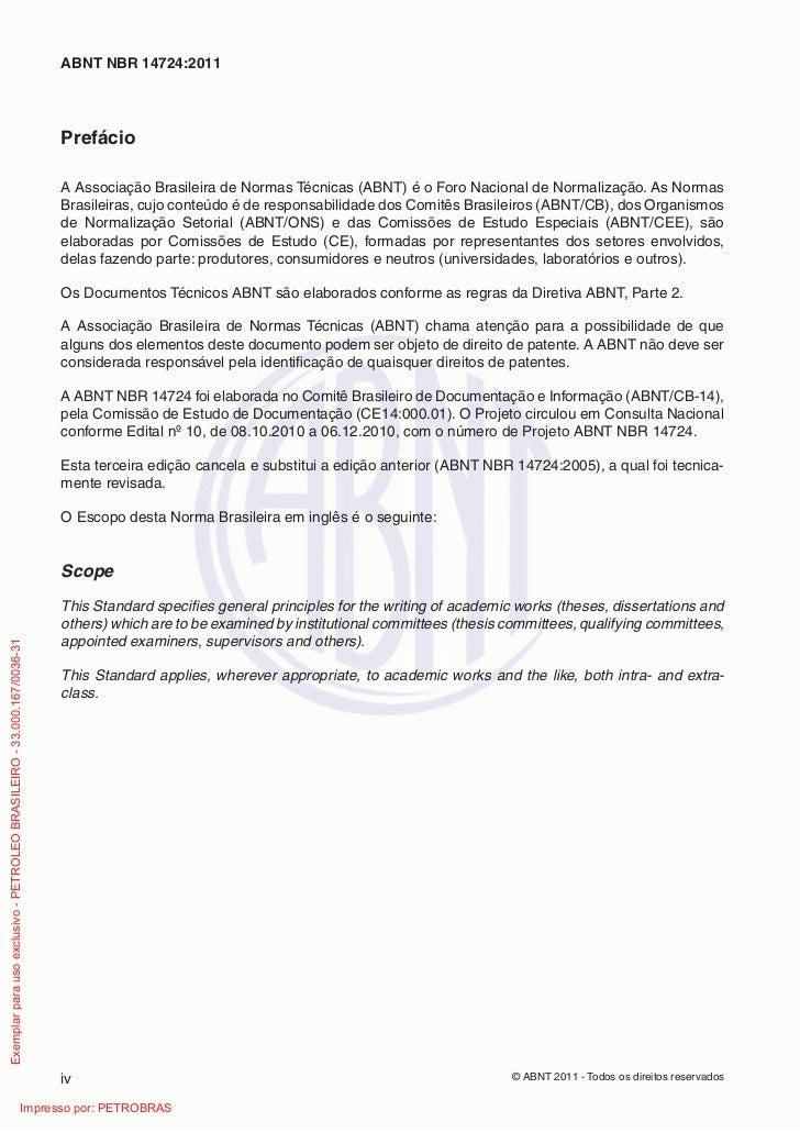 ABNT NBR 14724:2011                                                                         Prefácio                      ...
