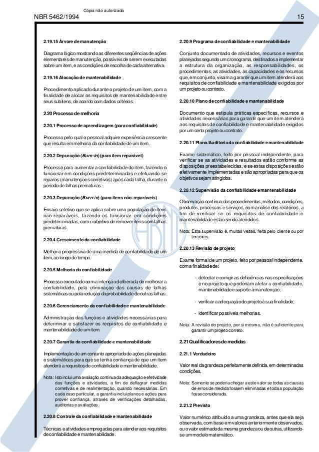 NBR 5462/1994 15  2.19.15 Árvore de manutenção  Diagrama lógico mostrando as diferentes seqüências de ações  elementares d...