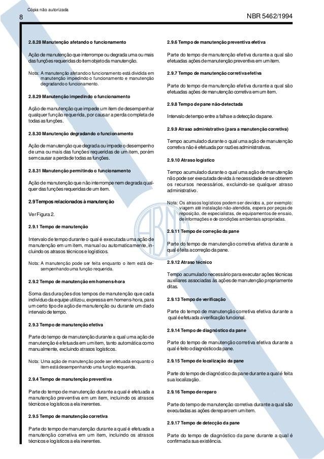 8 NBR 5462/1994  2.8.28 Manutenção afetando o funcionamento  Ação de manutenção que interrompe ou degrada uma ou mais  das...