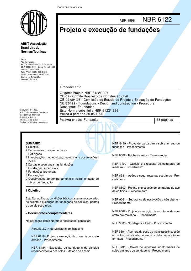 Cópia não autorizada                                                                         ABR 1996          NBR 6122   ...