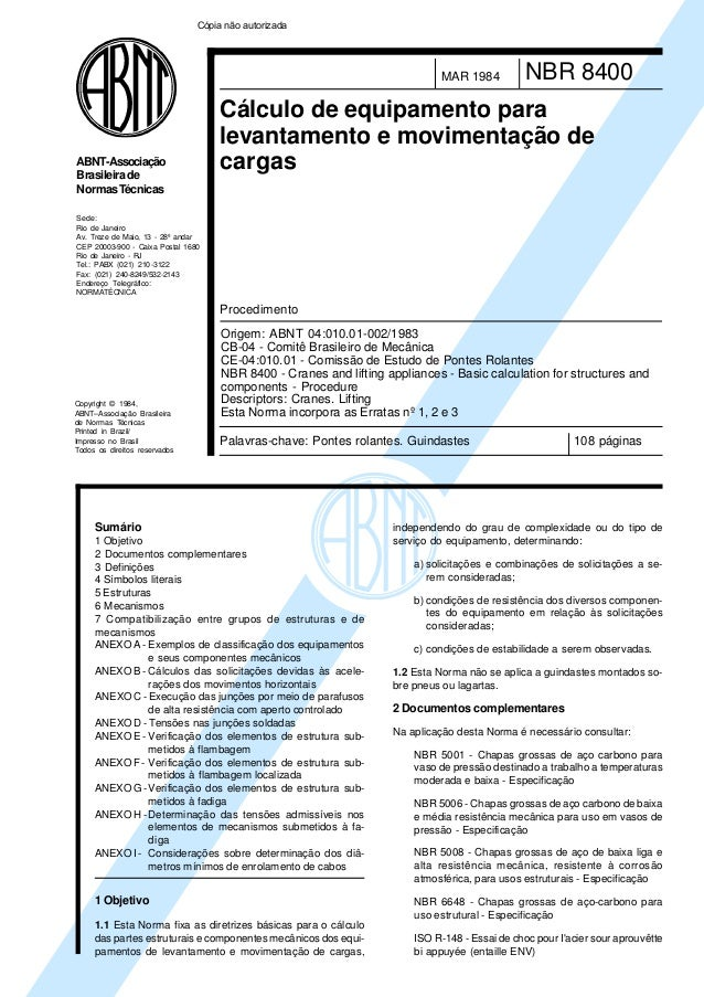 Copyright © 1984, ABNT–Associação Brasileira de Normas Técnicas Printed in Brazil/ Impresso no Brasil Todos os direitos re...