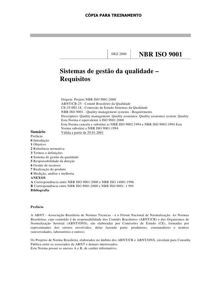 CÓPIA PARA TREINAMENTO                                                    DEZ 2000          NBR ISO 9001                  ...