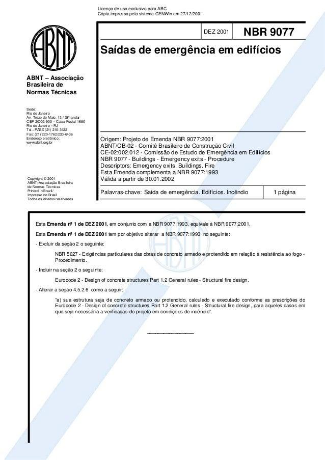 Licença de uso exclusivo para ABC                                    Cópia impressa pelo sistema CENWin em 27/12/2001     ...