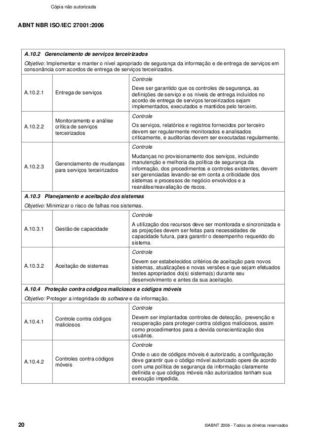 ABNT NBR ISO/IEC 27001:2006 20 ©ABNT 2006 - Todos os direitos reservados A.10.2 Gerenciamento de serviços terceirizados Ob...