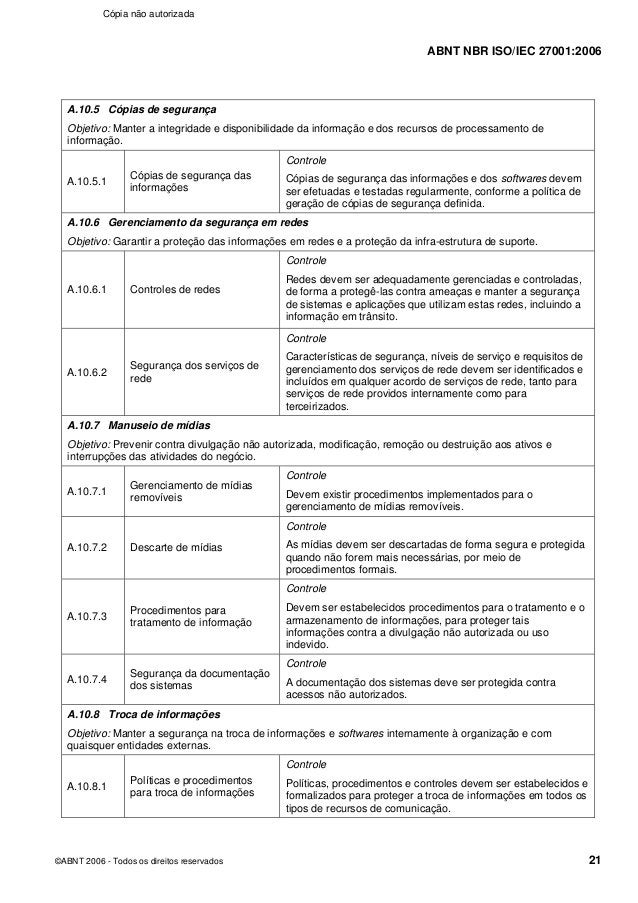 ABNT NBR ISO/IEC 27001:2006 ©ABNT 2006 - Todos os direitos reservados 21 A.10.5 Cópias de segurança Objetivo: Manter a int...