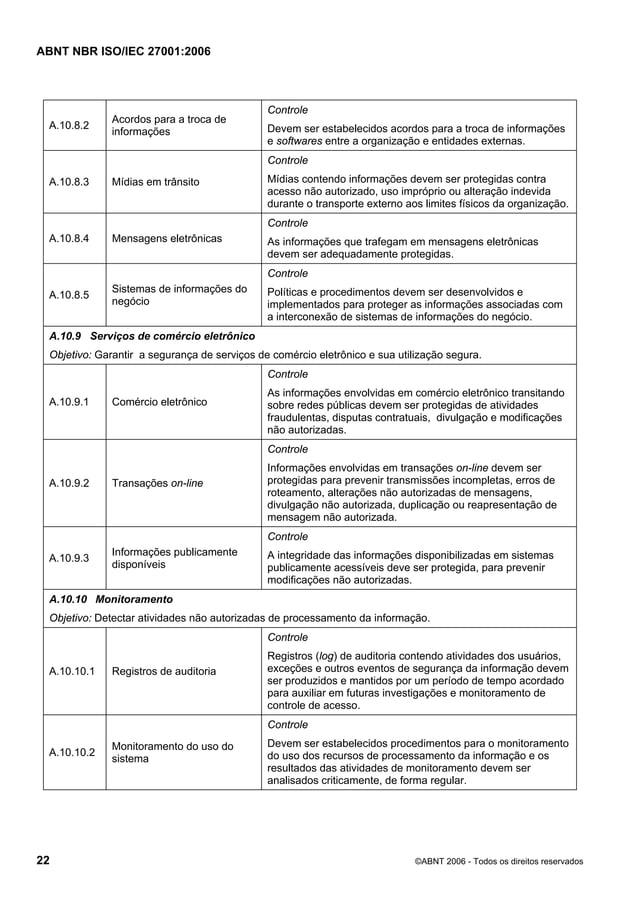 ABNT NBR ISO/IEC 27001:2006 22 ©ABNT 2006 - Todos os direitos reservados A.10.8.2 Acordos para a troca de informações Cont...