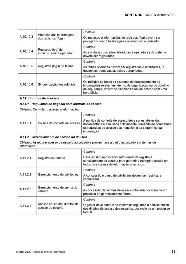 ABNT NBR ISO/IEC 27001:2006 ©ABNT 2006 - Todos os direitos reservados 23 A.10.10.3 Proteção das informações dos registros ...