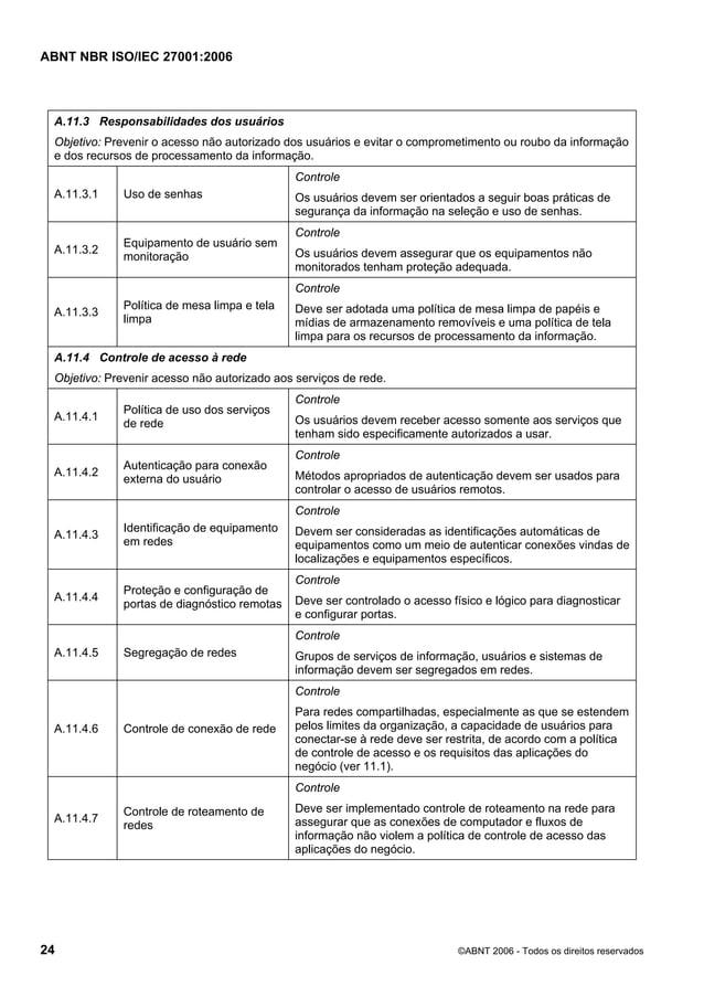ABNT NBR ISO/IEC 27001:2006 24 ©ABNT 2006 - Todos os direitos reservados A.11.3 Responsabilidades dos usuários Objetivo: P...