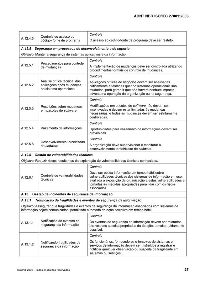 ABNT NBR ISO/IEC 27001:2006 ©ABNT 2006 - Todos os direitos reservados 27 A.12.4.3 Controle de acesso ao código- fonte de p...