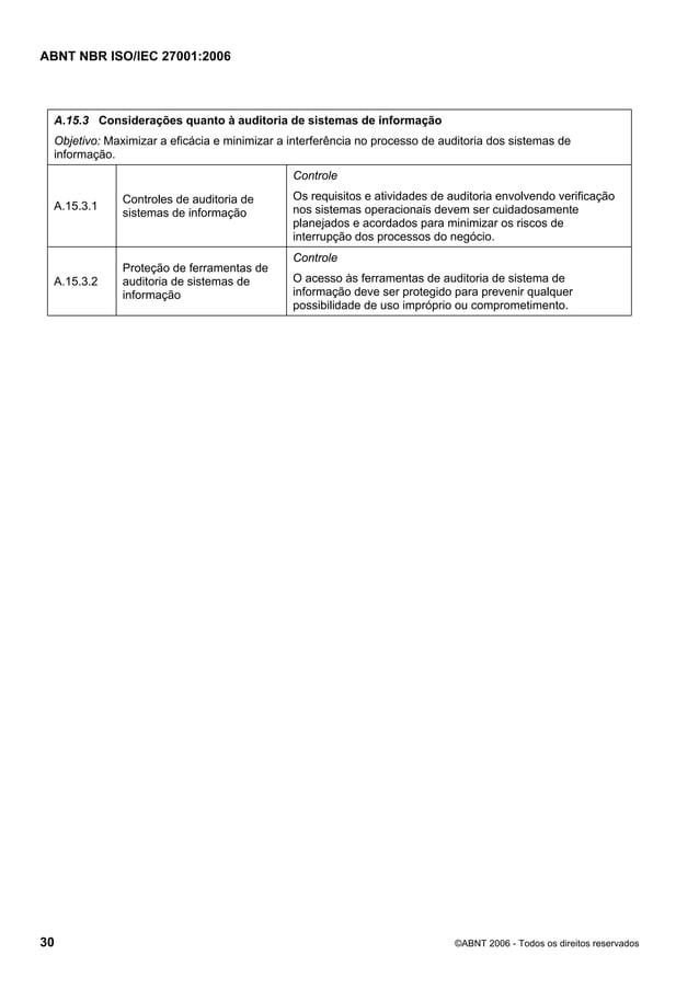 ABNT NBR ISO/IEC 27001:2006 30 ©ABNT 2006 - Todos os direitos reservados A.15.3 Considerações quanto à auditoria de sistem...