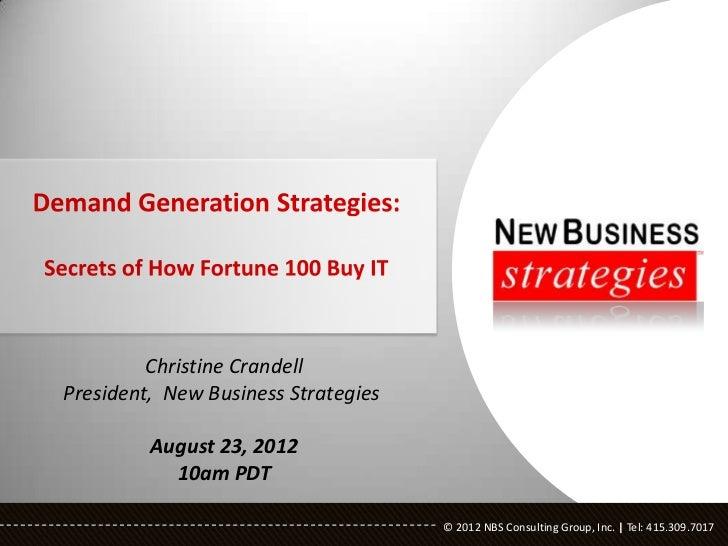 Christine CrandellPresident, New Business Strategies         August 23, 2012           10am PDT                           ...
