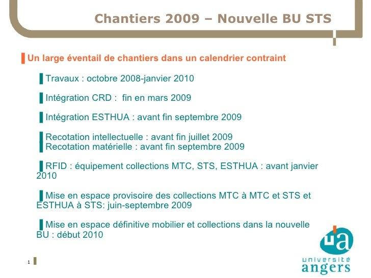 Chantiers 2009 – Nouvelle BU STS   ▐ Un large éventail de chantiers dans un calendrier contraint        ▐ Travaux : octobr...