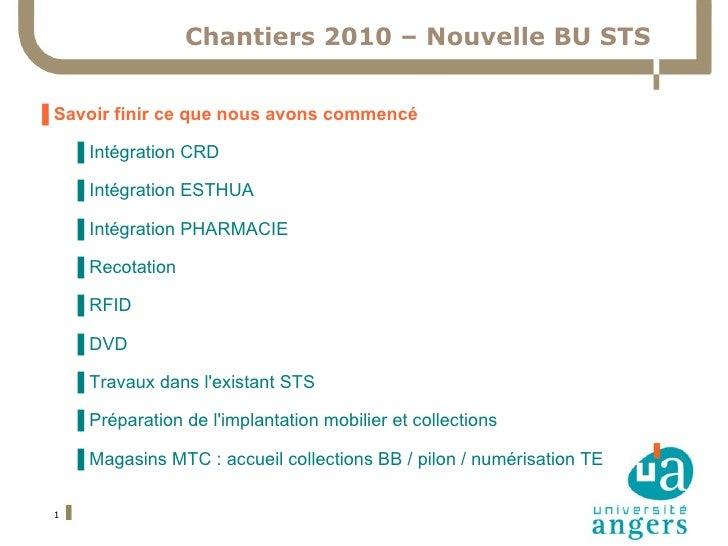 Chantiers 2010 – Nouvelle BU STS ▐  Savoir finir ce que nous avons commencé ▐  Intégration CRD ▐  Intégration ESTHUA ▐  In...